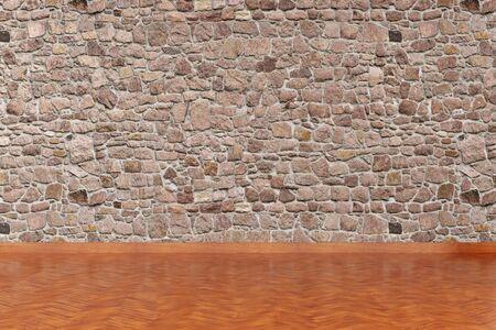 Modern empty interior with stone wall and wooden floor. 3d Illustration Standard-Bild - 134687090