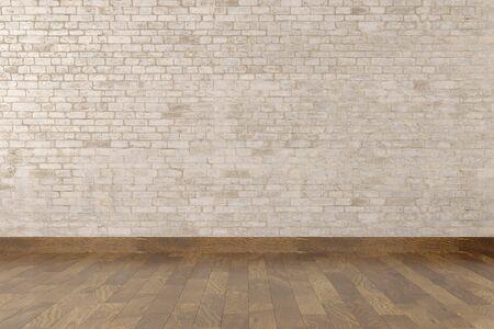 Modern empty interior with stone wall and wooden floor. 3d Illustration Standard-Bild - 134687091
