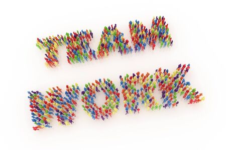Large group of people in the shape of teamwork on a white background. 3D illustration Standard-Bild - 134687094