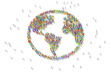 Die Menschenmenge liebt es, den Planeten zu recyceln und zu retten. 3D-Darstellung Standard-Bild