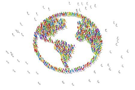 Tłumy ludzi uwielbiają recykling i ratowanie planety. ilustracja 3D Zdjęcie Seryjne