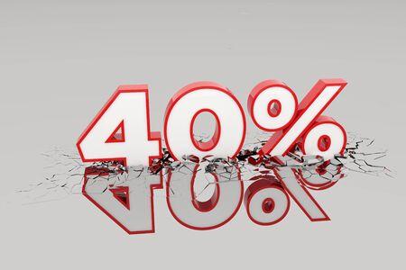 40% Discount 3d Sign breking wall. Special Offer Discount Tag. 3D illustration Standard-Bild - 135118825