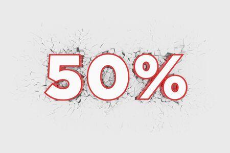 50% Discount 3d Sign breking wall. Special Offer Discount Tag. 3D illustration Standard-Bild - 135118942