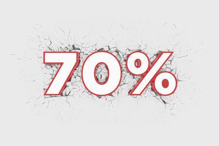 70% Discount 3d Sign breking wall. Special Offer Discount Tag. 3D illustration Standard-Bild - 135118892