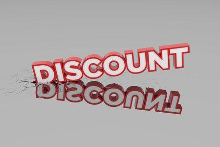Discount 3d Sign breking wall. Special Offer Discount Tag. 3D illustration Standard-Bild - 135118920