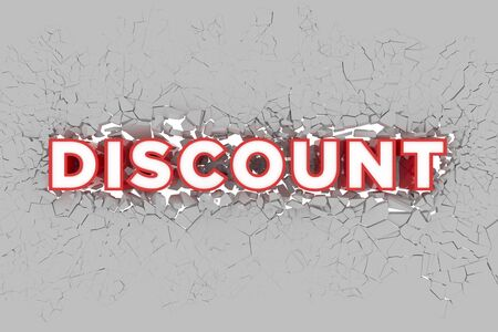 Discount 3d Sign breking wall. Special Offer Discount Tag. 3D illustration Standard-Bild - 135118932