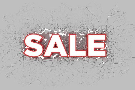 Sale 3d Sign breking wall. Special Offer Discount Tag. 3D illustration Standard-Bild - 134687190
