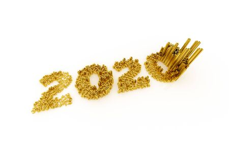 Business graph and currency symbol, represents growth in the new year three-dimensional rendering, 3D illustration Standard-Bild - 134687194