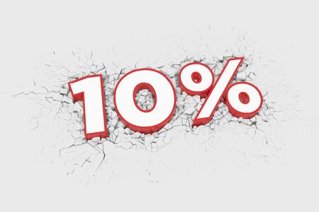 10% Discount 3d Sign breking wall. Special Offer Discount Tag. 3D illustration Standard-Bild - 135135158