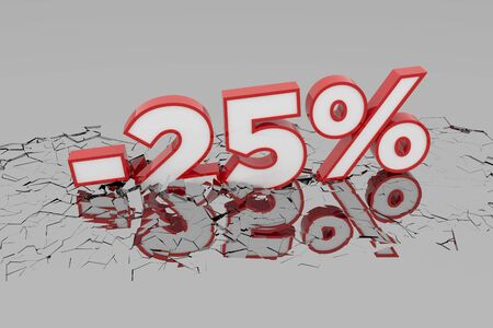 25% Discount 3d Sign breking wall. Special Offer Discount Tag. 3D illustration Standard-Bild - 135135257