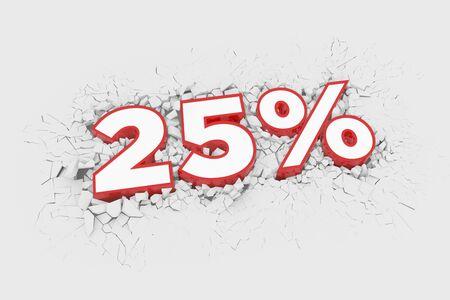 25% Discount 3d Sign breking wall. Special Offer Discount Tag. 3D illustration Standard-Bild - 135134976