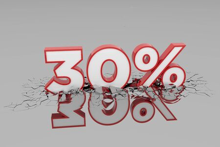 30% Discount 3d Sign breking wall. Special Offer Discount Tag. 3D illustration Standard-Bild - 135135163