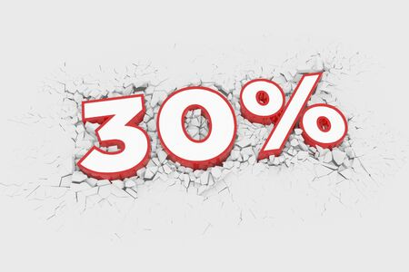 30% Discount 3d Sign breking wall. Special Offer Discount Tag. 3D illustration Standard-Bild - 135135209