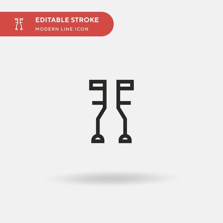 Crutches Simple vector icon. Illustration symbol design template for web mobile UI element. Perfect color modern pictogram on editable stroke. Crutches icons for your business project Stock Illustratie
