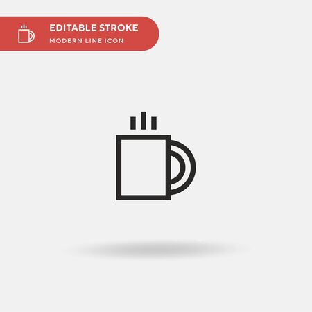 Coffee Cup Simple vector icon. Illustration symbol design template for web mobile UI element. Perfect color modern pictogram on editable stroke. Coffee Cup icons for your business project Çizim