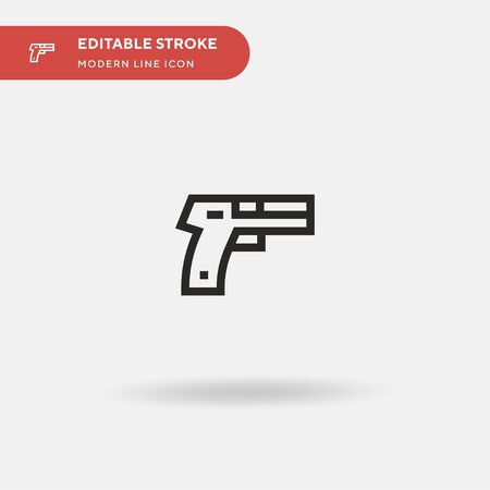 Gun Simple vector icon. Illustration symbol design template for web mobile UI element. Perfect color modern pictogram on editable stroke. Gun icons for your business project