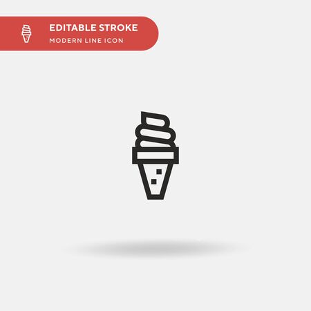 Ice Cream Simple vector icon. Illustration symbol design template for web mobile UI element. Perfect color modern pictogram on editable stroke. Ice Cream icons for your business project Vectores