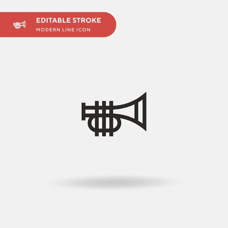 Trumpet Simple vector icon. Illustration symbol design template for web mobile UI element. Perfect color modern pictogram on editable stroke. Trumpet icons for your business project Stock fotó - 150561732