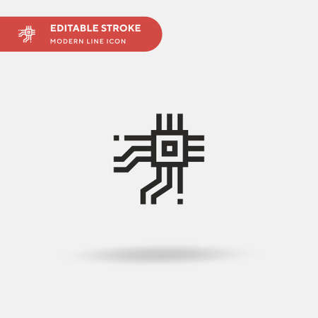 Cpu Simple vector icon. Illustration symbol design template for web mobile UI element. Perfect color modern pictogram on editable stroke. Cpu icons for your business project