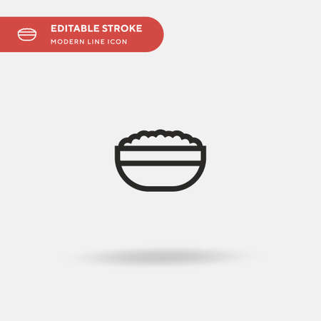 Rice Bowl Simple vector icon. Illustration symbol design template for web mobile UI element. Perfect color modern pictogram on editable stroke. Rice Bowl icons for your business project