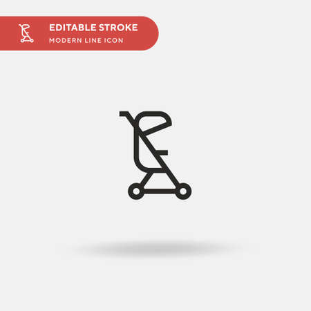 Pushchair Simple vector icon. Illustration symbol design template for web mobile UI element. Perfect color modern pictogram on editable stroke. Pushchair icons for your business project Illusztráció