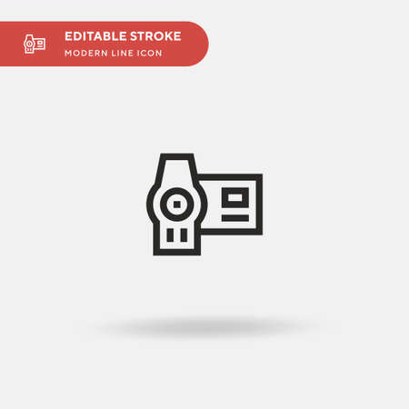 Camcorder Simple vector icon. Illustration symbol design template for web mobile UI element. Perfect color modern pictogram on editable stroke. Camcorder icons for your business project