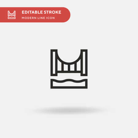 Bridge Simple vector icon. Illustration symbol design template for web mobile UI element. Perfect color modern pictogram on editable stroke. Bridge icons for your business project