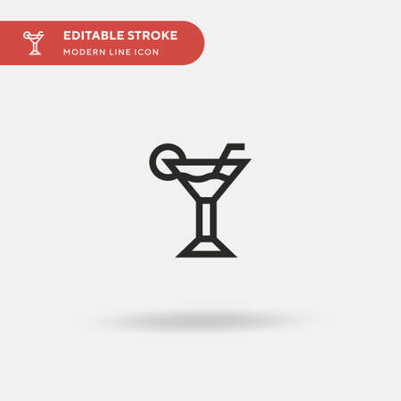 Cocktail Simple vector icon. Illustration symbol design template for web mobile UI element. Perfect color modern pictogram on editable stroke. Cocktail icons for your business project