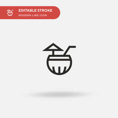 Coconut Drink Simple vector icon. Illustration symbol design template for web mobile UI element. Perfect color modern pictogram on editable stroke. Coconut Drink icons for your business project Ilustrace