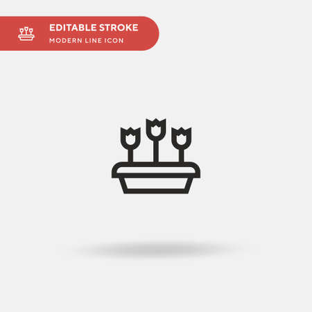 Flower Pot Simple vector icon. Illustration symbol design template for web mobile UI element. Perfect color modern pictogram on editable stroke. Flower Pot icons for your business project