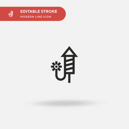 Firework Simple vector icon. Illustration symbol design template for web mobile UI element. Perfect color modern pictogram on editable stroke. Firework icons for your business project