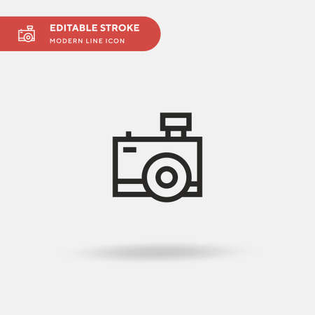 Camera Simple vector icon. Illustration symbol design template for web mobile UI element. Perfect color modern pictogram on editable stroke. Camera icons for your business project