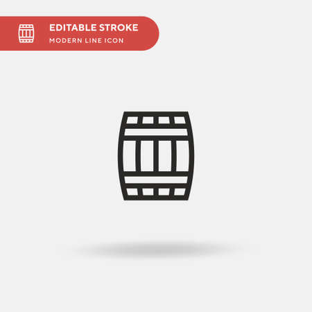 Wine Barrel Simple vector icon. Illustration symbol design template for web mobile UI element. Perfect color modern pictogram on editable stroke. Wine Barrel icons for your business project  イラスト・ベクター素材