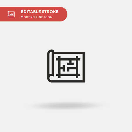 Blueprint Simple vector icon. Illustration symbol design template for web mobile UI element. Perfect color modern pictogram on editable stroke. Blueprint icons for your business project