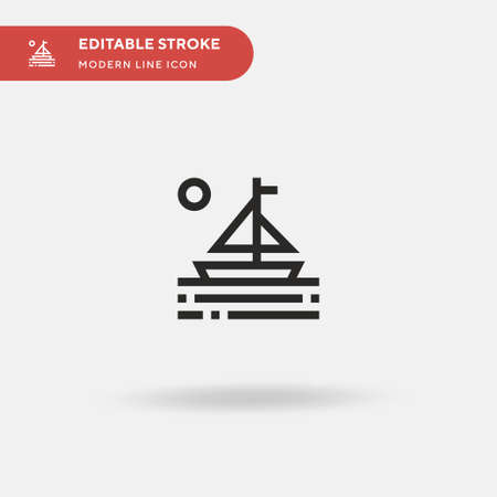 Sailboat Simple vector icon. Illustration symbol design template for web mobile UI element. Perfect color modern pictogram on editable stroke. Sailboat icons for your business project Иллюстрация