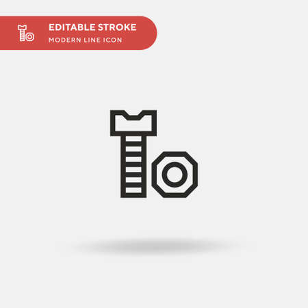 Screw Simple vector icon. Illustration symbol design template for web mobile UI element. Perfect color modern pictogram on editable stroke. Screw icons for your business project
