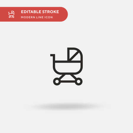 Baby Stroller Simple vector icon. Illustration symbol design template for web mobile UI element. Perfect color modern pictogram on editable stroke. Baby Stroller icons for your business project