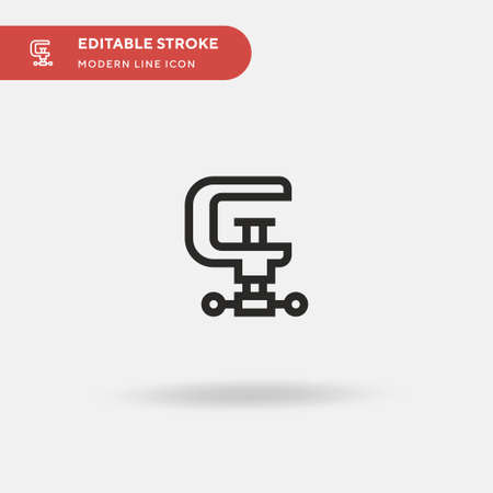 Clamp Simple vector icon. Illustration symbol design template for web mobile UI element. Perfect color modern pictogram on editable stroke. Clamp icons for your business project Çizim