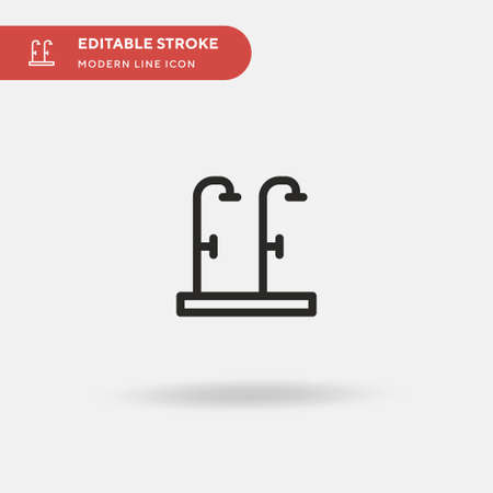 Showers Simple vector icon. Illustration symbol design template for web mobile UI element. Perfect color modern pictogram on editable stroke. Showers icons for your business project Stock Illustratie