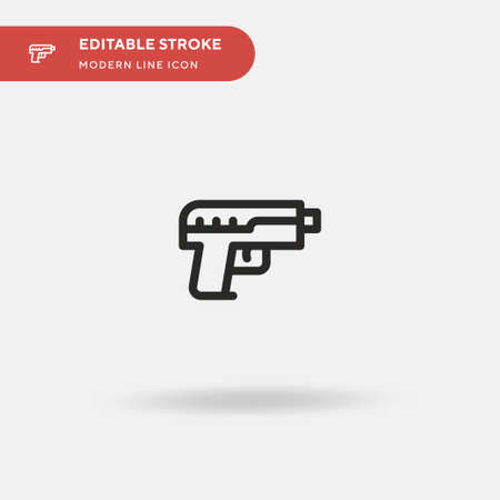 Hand Gun Simple vector icon. Illustration symbol design template for web mobile UI element. Perfect color modern pictogram on editable stroke. Hand Gun icons for your business project