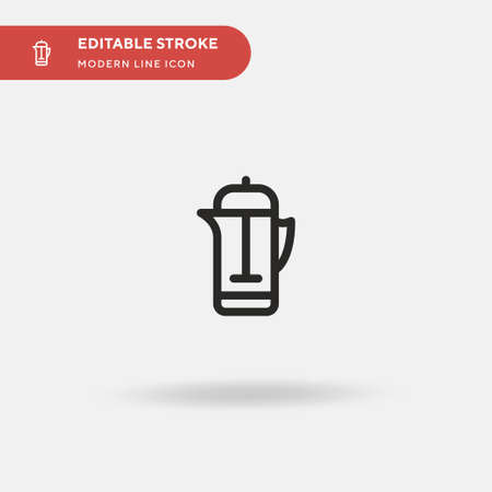 French Press Simple vector icon. Illustration symbol design template for web mobile UI element. Perfect color modern pictogram on editable stroke. French Press icons for your business project