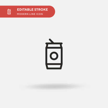 Soda Can Simple vector icon. Illustration symbol design template for web mobile UI element. Perfect color modern pictogram on editable stroke. Soda Can icons for your business project Vettoriali