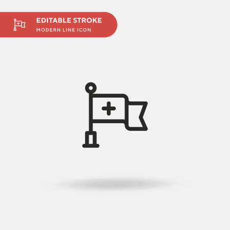 Red Cross Simple vector icon. Illustration symbol design template for web mobile UI element. Perfect color modern pictogram on editable stroke. Red Cross icons for your business project