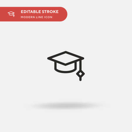 Graduation Cap Simple vector icon. Illustration symbol design template for web mobile UI element. Perfect color modern pictogram on editable stroke. Graduation Cap icons for your business project
