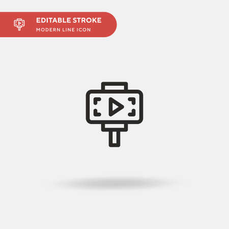 Video Recording Simple vector icon. Illustration symbol design template for web mobile UI element. Perfect color modern pictogram on editable stroke. Video Recording icons for your business project Ilustração