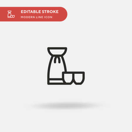 Sake Simple vector icon. Illustration symbol design template for web mobile UI element. Perfect color modern pictogram on editable stroke. Sake icons for your business project