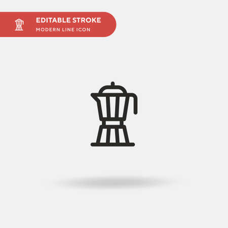Moka Pot Simple vector icon. Illustration symbol design template for web mobile UI element. Perfect color modern pictogram on editable stroke. Moka Pot icons for your business project