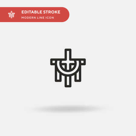 Christian Cross Simple vector icon. Illustration symbol design template for web mobile UI element. Perfect color modern pictogram on editable stroke. Christian Cross icons for your business project