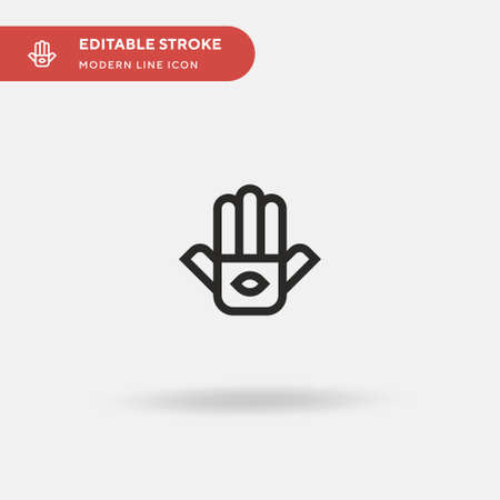Hamsa Simple vector icon. Illustration symbol design template for web mobile UI element. Perfect color modern pictogram on editable stroke. Hamsa icons for your business project