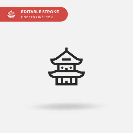 Pagoda Simple vector icon. Illustration symbol design template for web mobile UI element. Perfect color modern pictogram on editable stroke. Pagoda icons for your business project